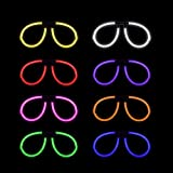 Lumistick Aviator Glow Eyeglasses | Light Up Neon Glow Eyewear | Illuminating Eye-catching Party Wear | Non-Toxic & Kids Safe Light Up Fluorescent Specs with Connectors (Assorted, 50 Eyeglasses)