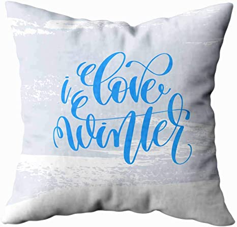 Amazon Com Jesmacti Christmas Pillow Case Decorative Pillow Case Cover Love Winter Holiday Poster Light Blue Stroke Background Christmas Quote Indoor And Outdoor Use Contour Throw Pillow Covers 18x18 Inches Home Kitchen