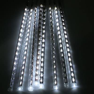10 Tube 16.5 FT String Falling Rain Drop, icy icicle Snow Fall String LED White 12 inch 18 led Bulb Light for Christmas Xmas Tree Garden Decoration Amazing Meteor Shower Rain Snowfall