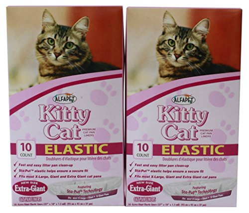 Alfapet Kitty Cat Pan Disposable, Elastic Liners- 10-Pack-For Large, X-Large, Giant, Extra-Giant Size Litter Boxes- With Sta-Put Technology for Firm, Easy Fit- Quick + Clever Waste Cleaners, Pack of 2