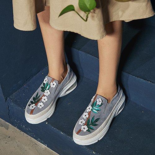 WSXY Gray À Chaussures Semelles KJJDE Fleurs De Coins Q1419 Élastique 36 Plateformes Bande Femme wIq74P57
