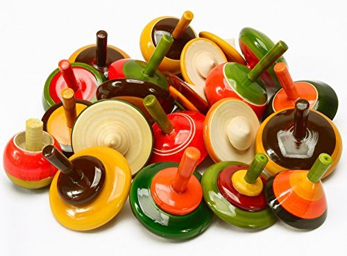 Lot 50 pcs Handmade Painted Wooden Spinning Tops Toys Vintage Indian Wood Craft by AzKrafts