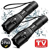 Tactical Flashlight, Wowlite 1600 LM Ultra Bright - CREE XML T6 LED Taclight As Seen On Tv with 5 Light Modes & Adjustable Focus for Emergency Camping (2 Pack)