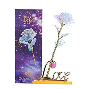 Youyouchard Gold Rose Rose Kit Colored Crystal Rose Led Light with Base, Rose Flower Dipped in Gold with Stand in Gift Box, Gift for Mother's Day,Valentine's Day 13