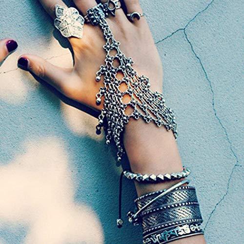 Nicute Boho Flower Bracelets Silver Bells Hand Harness Bangle Chain Link Finger Ring Bracelet for Women and Girls