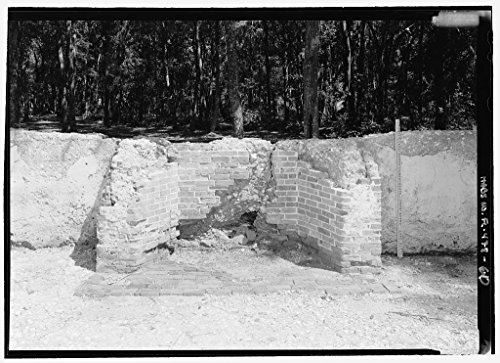 Vintography 8 x 12 Photo Slave Quarters E16, Detail View Fireplace Scale Stick - Kingsley Plantation, 11676 Palmetto Avenue, Jacksonville, Duval County, FL 1855 90a by Vintography