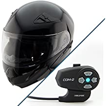 Hawk XFZ-9120 Gloss Black Modular Helmet with Hawk COM-2 Bluetooth Intercom - Medium w/ COM-2 Intercom