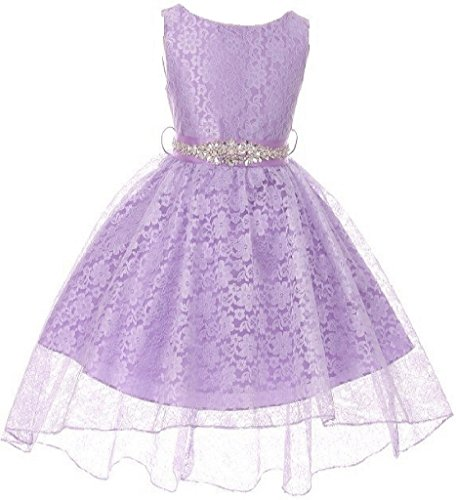 Big Girls Floral Lace High Low Rhinestones Special Occasion Flower Girl Dress Lilac 10 ()