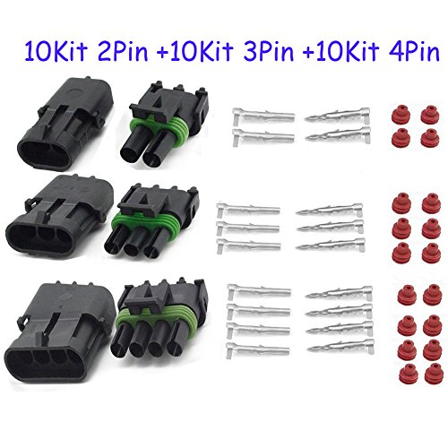 HIFROM 10 Kit (2+3+4 Pin Way) Waterproof Electrical Connector 1.5mm Series Terminals Heat Shrink Quick Locking Wire Harness Sockets 20-14 AWG ()