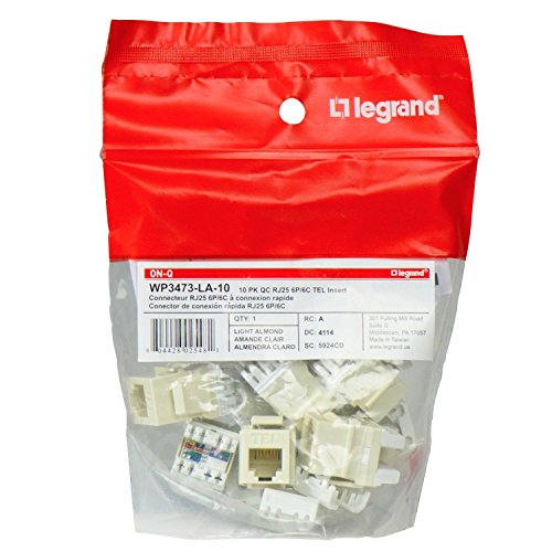 - Legrand - On-Q WP3473LA10 Contractor Quick Connect RJ25 6-Position 6-Conductor Telephone Keystone Insert (Pack of 10), Light Almond