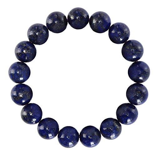 BRCbeads Gemstone Bracelets Natural Blue Lapis Genuine Gemstones Birthstone Handmade Healing Power Crystal Beads Elastic Stretch 12mm 8.5 Inch with Gift Box Unisex