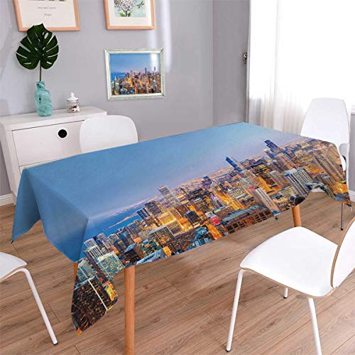 Chicago Skyline Rectangle Dinner Picnic Table Cloth Aerial View of Town with Michigan Lake Vibrant City Panorama Evening Time Waterproof Table Cover for Kitchen Multicolor Size: W54