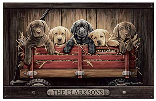Personalized Family Name Poster with Black, Yellow & Chocolate Labs in Red Wagon | Unique Gift for Friends & Family | Dog Lovers Gift Idea