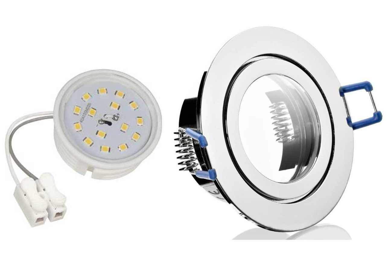 10 x Flacher Led Feuchtraum Einbaustrahler chrom starr mit einer 5Watt Flat Led neutralweiss 400 Lumen Anschluß 230Volt Einbautiefe 35mm