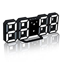 3D LED Electronic Digital Alarm Clock, Multifunctional Modern Desktop/Special Wall Clock with Adjustable Night Light, Snooze Function, Automatic Memory, 24/12 Hour Display (Black-White)