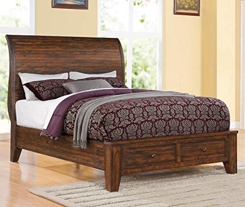 (Modus Furniture Cally Storage Bed, Solid Wood, Antique Mocha, Queen)