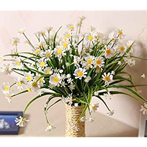 E-HAND Daisies Artificial Flowers Outdoor UV Resistant Daisy Fake Plant Wholesale Windowbox Faux Greenery Shrubs Simulation Plastic Bushes Indoor Hanging Planter DIY Wedding Balcony Decor - 4 PCS 87