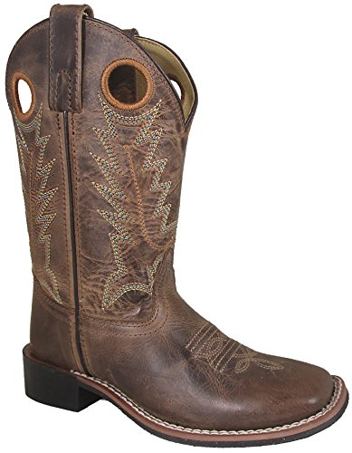 Smoky Mountain Boys Brown Distressed Jesse Square Toe Western Cowboy Boot, Brown Waxed Distress, 10.5 M US Little Kid ()
