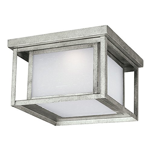 Sea Gull Lighting 7903991S-57 Hunnington LED Outdoor Flush Mount Ceiling Light with Etched Seeded Glass Panels, Weathered Pewter Finish - Weathered Pewter Finish