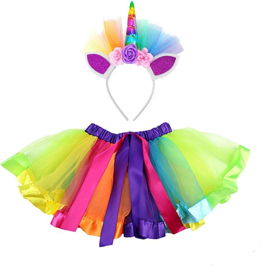 Toyvian Disfraz de Unicornio para niñas Falda de tutú de Arco Iris ...