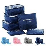 6 Set Packing Cubes,Travel Luggage Organizer-3 Travel Cubes + 3 Pouches (Dark Blue)