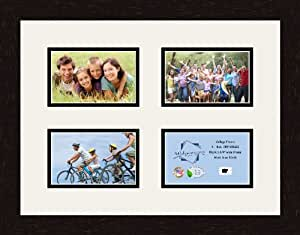 ArtToFrames 1.25-Inch Espresso Picture Frame with 4 Openings of 4 by 6-Inch and a Super White Top Mat and Black Bottom Mat