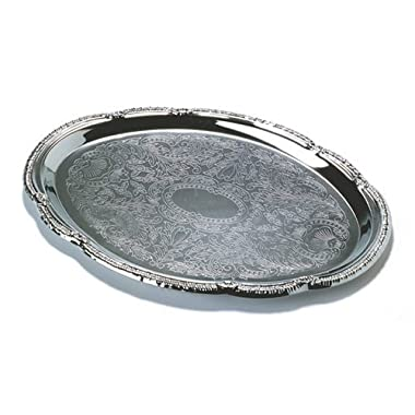 Tablecraft (CT1510) 15  x 10-1/2  Oval Chrome Plated Serving Tray