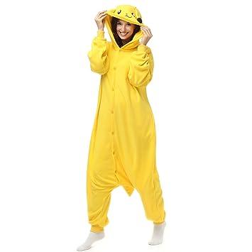 f19b3609a Adult Pikachu Onesie Polar Fleece Pajamas Cartoon Sleepwear Animal  Halloween Cosplay Costume Unisex (M (