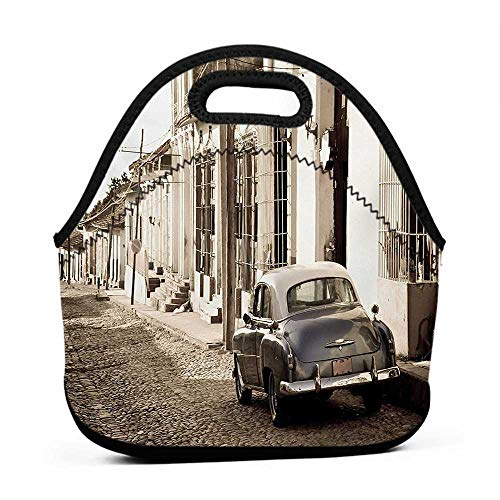 Neoprene Lunch Bag Vintage Car,An Old American Car in the Colonial Streets of Trinidad in Cuba Historical Picture,Beige,pretty lunch bag for women