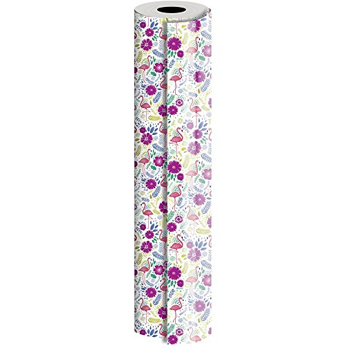 JAM Paper® Industrial Size Bulk Wrapping Paper Rolls - Flamingo Design - 1/4 Ream (520 Sq Ft) - Sold Individually by JAM Paper