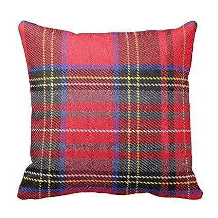Amazon DKISEE Red Tartan Plaid Throw Pillow Cover Cushion Case Impressive Tartan Pillow Covers