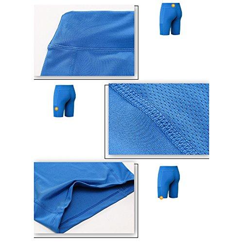 Active Palestra Pantaloncini Allenamento Shapewear Vita Corsa Ciclismo Alta Da Mxssi A Blu Donna Yoga Slim 8qnC0
