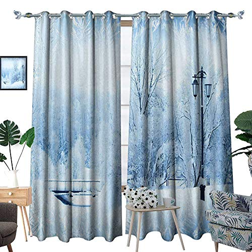 homehot Winter Blackout Window Curtain Winter Trees in Wonderland Theme Christmas New Year Scenery Freezing ICY Weather Customized Curtains