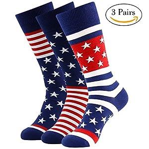 American Flag Socks, LANDUNCIAGA Men's Boots Knee High Gift Novelty Fashion Americana Cotton Wedding Socks Groom Groomsmen Crew Socks,3 Pack