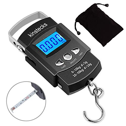 Kinstecks 110lb/50kg Fish Scales Backlit LCD Portable Electronic Balance Digital Fishing Scale Hanging Scale with Measuring Tape Ruler for Hunting Fishing Postal Kitchen (Black)