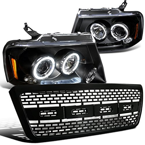 Ford F150 Black Dual Halo LED Projector Headlights+Raptor Hood Grille