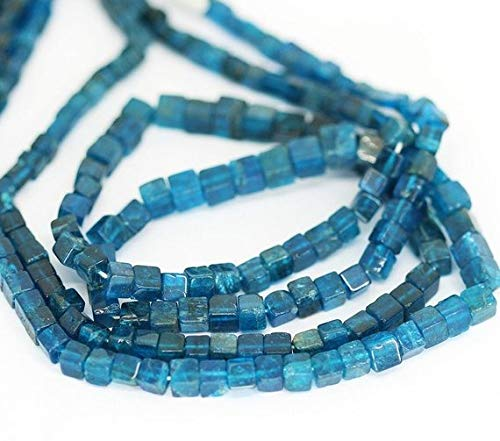 Beads Bazar Natural Beautiful jewellery Neon Royal Blue Apatite Smooth Square Box Cube Gemstone Loose Craft Beads Strand 16