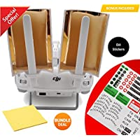 FabQuality Booster Range Extender Booster Copper Parabolic Antenna Signal Range Booster with BUNDLE Sticker Set and Cleaning Cloth - Windsurfer for Phantom 4, 3 Pro Advanced Standard & Inspire (2pcs)