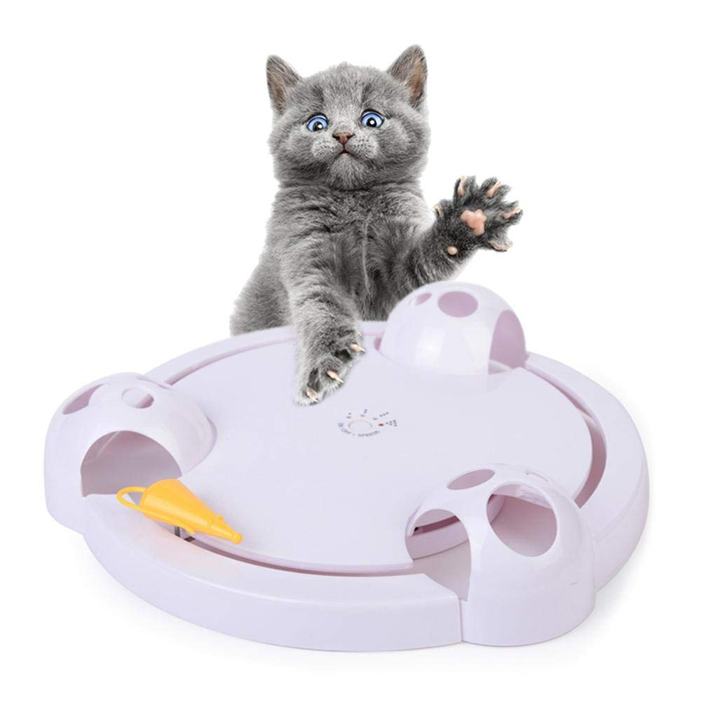 Umiwe Cat Interactive Toy, Kitten Roating Pounce Hide Seek Mouse Toy Adjustable Electric Battery Operated Automatic Toy