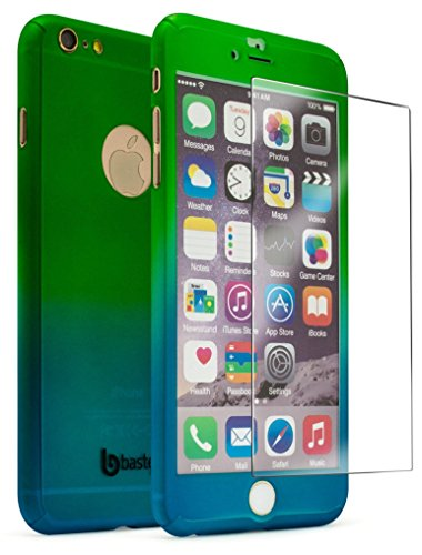 iPhone 6 Plus/6s Plus 5.5 Case With Tempered Glass Screen Protector, Bastex Full Body Slim Fit Fade Green to Blue Ultra Thin Light Weight Hard Snap-On Case for Apple iPhone 6 Plus 5.5