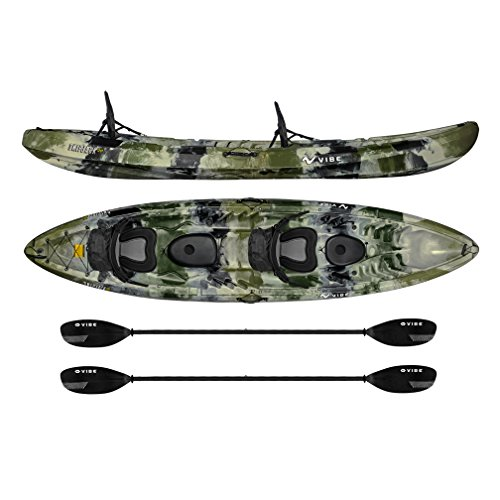 Vibe Kayaks Skipjack 120T | 12 Foot Tandem Kayak | 2 Person Sit On Top Kayak with 2 Paddles and 3-Position Deluxe Seat