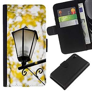 All Phone Most Case / Oferta Especial Cáscara Funda de cuero Monedero Cubierta de proteccion Caso / Wallet Case for Sony Xperia Z3 D6603 // Fall Yellow Street Lamp Romantic