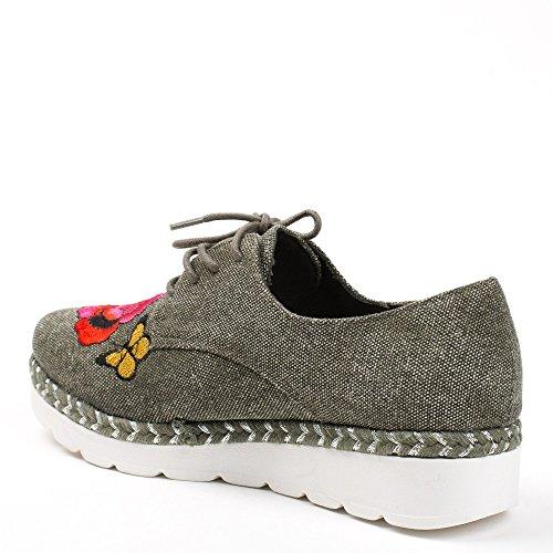 Ideal Shoes, Damen Schnürhalbschuhe Taupe