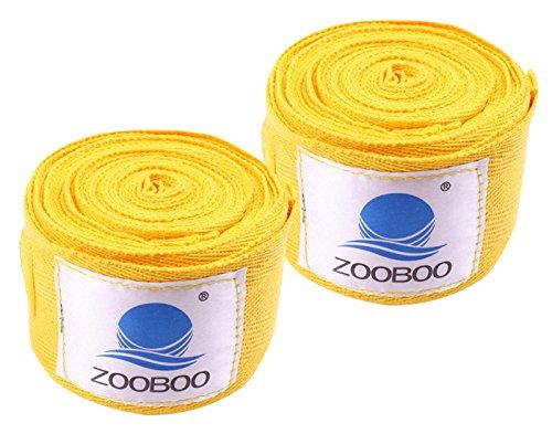 ZooBoo Muay Thai MMA Kickboxing Training Boxing Hand Wraps (Pair) -Yellow