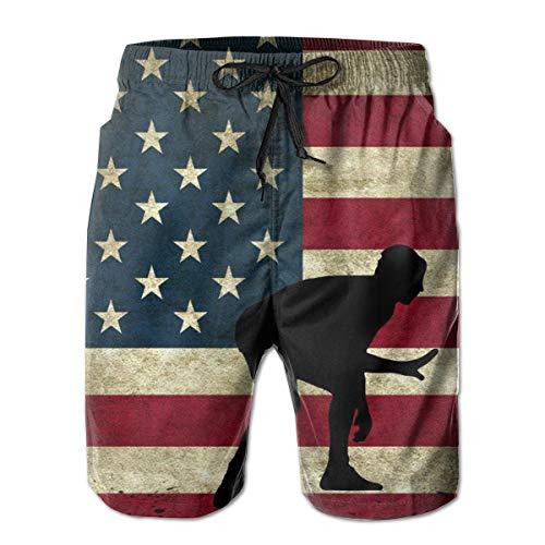 Man Novelty Beachwear Swimtrunks American Flag Wrestling Proud Wrestler Quick Dry Exercise Sports Beach Summer with Pockets White