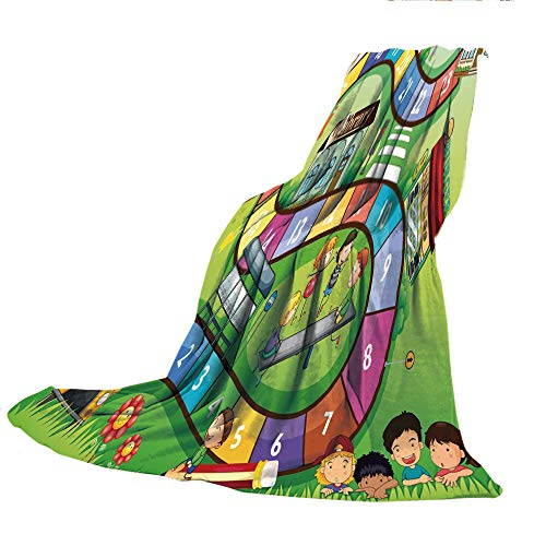 SCOCICI Super Thick Flannel Double-Sided Printing Blanket,Board Game,School Kids on Bus Playing in Garden Educational Games Library Toys Icons Print Decorative,Multicolor,31.50