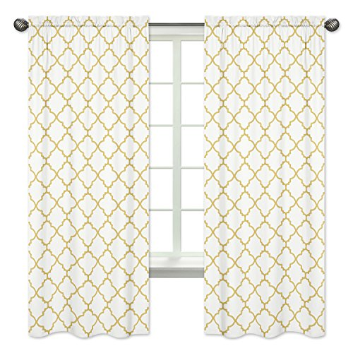 White and Gold Trellis Collection Window Treatment Panels - Set of (Lattice Panel Bed)