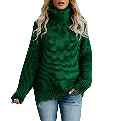 Hemlock Women Long Turtleneck Knitted Sweater Coats Jumper Pullover Tops Blouse Loose Winter Knitwear ()