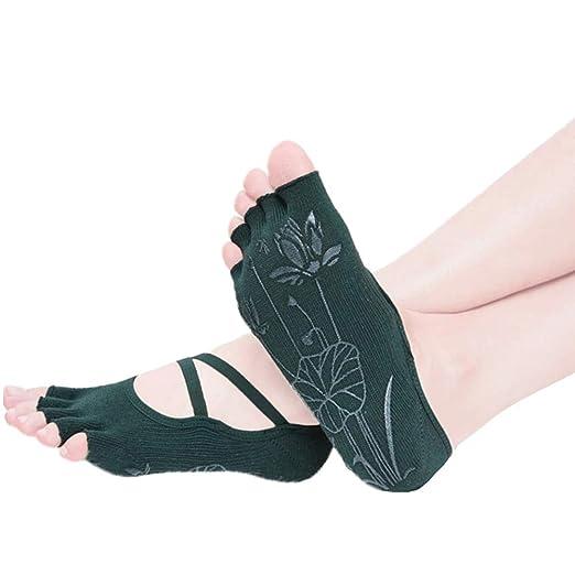 LRKZ Los Calcetines De Yoga para Mujeres con Empuñadura Y No ...