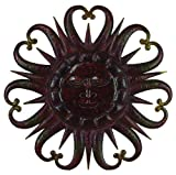 Deco 79 90340 Metal Rising Sun with Heart Shaped Rays Wall Decor, 38-Inch, Brown